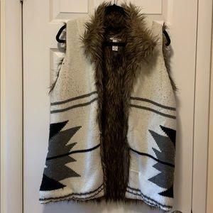 Reversible Faux Fur tunics length vest